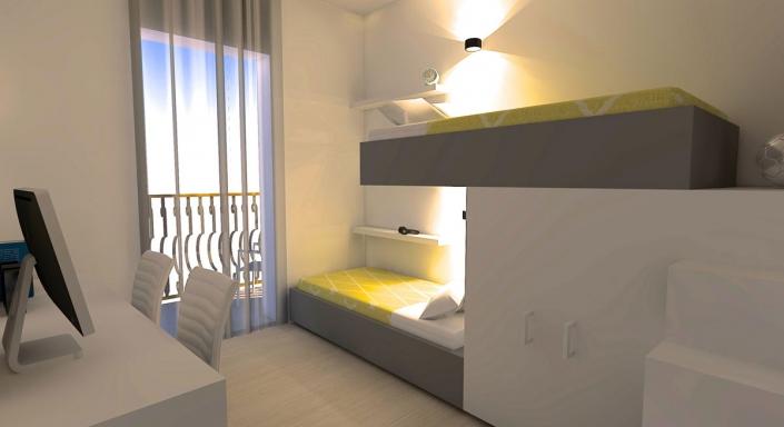 Modern Appartement Ontwerp Slaapkamer